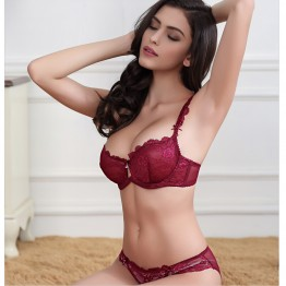 10374-7 French Women Underwear lingerie Pink Lace Bra Set push up Plus Size Sexy Transparent intimate Panty Set Thin Cup bra