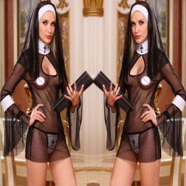 2016 New Sexy Costume Women Cosplay Nuns Uniform Transparent Sexy Lingerie Exotic Nun Halloween Costumes Dress Outfit Clothing