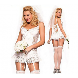 2016 New White bridal Sexy lingerie hot + garter + T pants + Hair accessories cosplay erotic lingerie sexy costumes for women