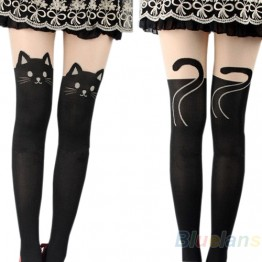 2016 Sexy Women Cat Tail Gipsy Mock Knee High Hosiery Pantyhose Panty Hose Tattoo Tights Hot Selling 8OOK