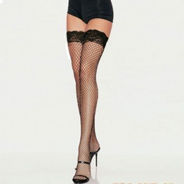 2017 New sexy women tights stockings Lace Top Sheer Thigh High Silk Stockings solid Nylon Fishnet Mesh Pantyhose stocking QZ211