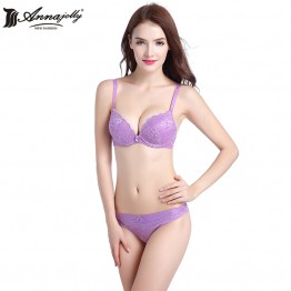 Annajolly Women Bra Sets Sexy Lace Push Up B C 3/4 Cup Bras And Panties Briefs Purple Underwear Lingerie Fashion New U9023