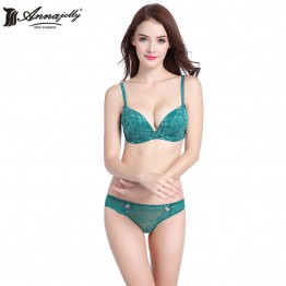 Annajolly Women Bra Sets Sexy Lace Push Up Top Embroidery Bras And Panties Briefs Underwear Lingerie Brand Fashion New U8433