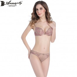 Annajolly Women Push Up Bra Sets Top Bra and Panties Briefs Sexy Lace Lingerie Comfortable Underwear New Fashion U1117