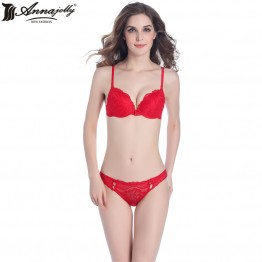 Annajolly Women Push Up Bra Sets Top Lace Bra And Panties Briefs Red White 3/4 Cup Lingerie Comfortable New Fashion  U1111