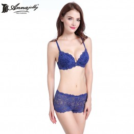 Annajolly Women Sexy Bra Sets Top Emborisery Lace Push up Bras And Panties Brief Blue Pink White Underwear Lingerie New U8593