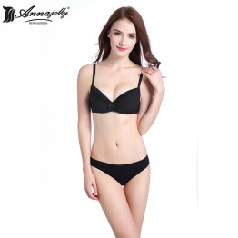 Annajolly Women Underwear Sexy Bras Sets Push Up Lace Bra And Panties Briefs Black Coffee Lingerie Brand Fashion New M9043