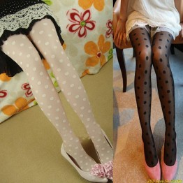 Black Sexy sheer Lace Big dot Pantyhose Stockings Tights Dot 1DIK