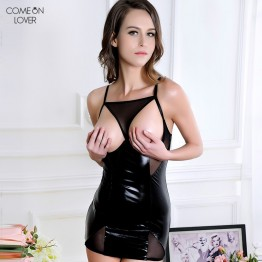 Comeonlover Leather Sexy Dress Special Design Erotic Lingerie Female Open Bra Chemise Black RT70338 Plus Size Ladies Babydolls