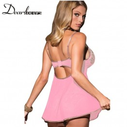 Dear lover Sexy Lingerie Hot Sleepwear For Women Pink Blue 2 Pieces Microfiber and Mesh Babydoll & Chemise with Thong LC22173