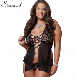 Fashion sexy costumes hot lingerie for women plus size 4XL halter backless black nightie sex bandage lenceria erotica underwear