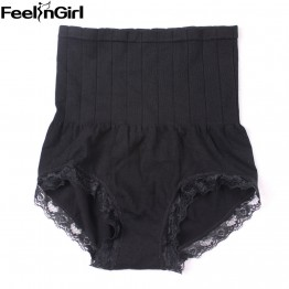 FeelinGirl Slim Panty Shaper Elastic High-rise Lace Trim Butt Lifter -E3 Sexy Underwear High Waist Lingerie Body Shaper Panty