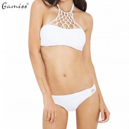 Gamiss Hot 2016 Women Sexy Swimwear High Neck Mesh Hollow Out Crochet Crop Top Sexy Bikini Set Swimsuit Beach Bathing Suit White
