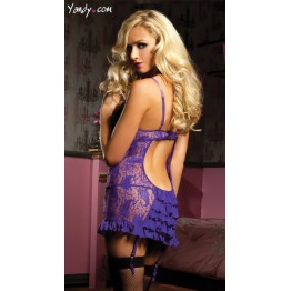 High Elasticity Plus Size Lace Sexy Lingerie Costumes Women Transparent Backless Chemise Exotic Nightdress G-string Babydoll