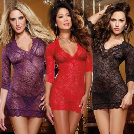 Hot Sleeve V-neck lace sexy lingerie Exotic Apparel Babydolls Chemises sexy costumes women underwear lenceria sexy intimates