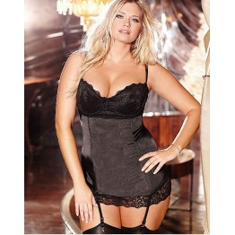 IDARMEE 3 Color Rushed Real Lace Satin Chemises Women Sleepwear Sexy Lingerie Babydolls Underwear with Garters S6081