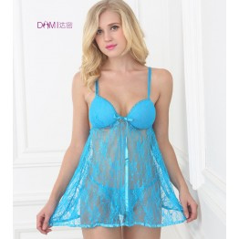 IDARMEE Plus Size Lingerie Babydolls Floral Lace Langerie See Through Nightgowns Sexy Underwear Chemises for Women Blue S6247