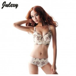 Julexy Brand UnderwearHot 2016 CD Cup Large Size Bra Set Push Up Bra And Panty Sexy Embroidery Women Intimate Lingerie Set