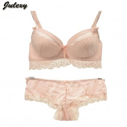 Julexy Intimate Barnd 2016 New Push Up Women Bra Set ABC Cup Lace lingerie Set Embroidery Sexy Young Female Underwear Set