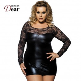 RJ7393 Free shipping 2016 newly hot black lace plus size faux leather sex lingerie dress sexy costumes erotic lingerie babydolls