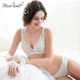 Realwill Women Sexy Bra and Brief Set Soft Lace Transparent Underwire Brassiere White and Pink Lingerie