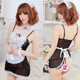 SZ807 new women sexy lingerie hot lace French Maid hat+lingerie+t-pant+collar+hand accessories sexy costume erotic Lingerie set