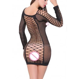 Sexy Sleepwear Lingerie Babydoll BODYSUIT Mesh baby doll dress long sleeve Catsuit  baby doll dress Chemises black S-L  6251