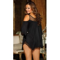 Top Grade 3 Color Lady Nightgown Sleepwear Women Sexy Pajamas Plus Size Exotic Dresses Deep V-neck Babydolls Chemises S6141