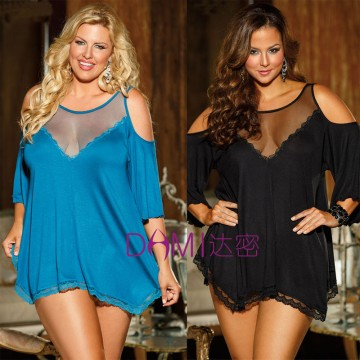 Top Grade 3 Color Lady Nightgown Sleepwear Women Sexy Pajamas Plus Size Exotic Dresses Deep V-neck Babydolls Chemises S614132637924285