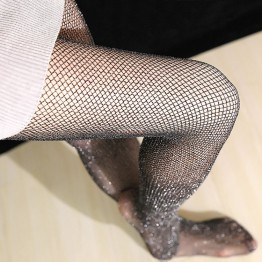 Women's Love Fashion Sexy Pantyhose Black Mesh Fishnet Tights With Shining Golden Silver Silk Thread For Women Hot Sell(LKW8)